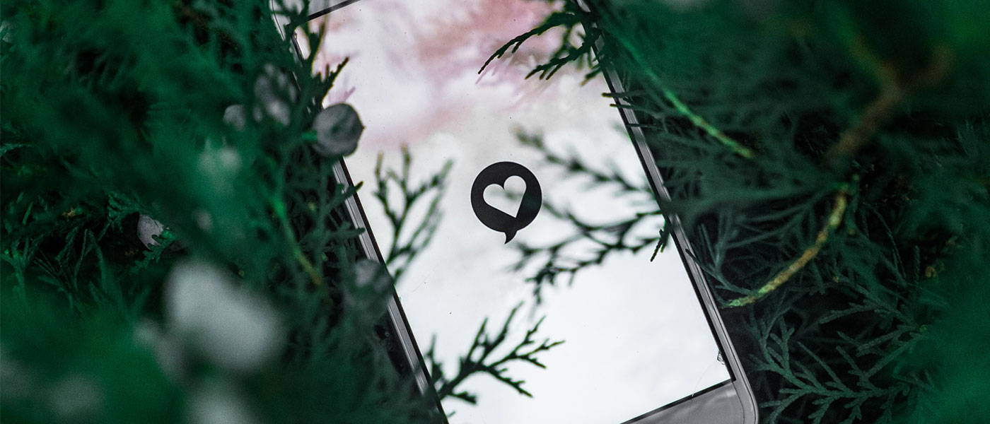 Mobile phone with love heart on screen
