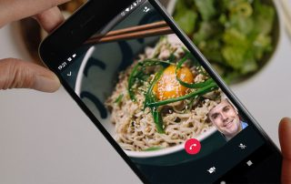 WhatsApp video call during an online dinner date